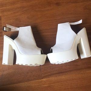 Public desire white chunky heels